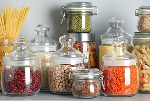 dried food goods in glass jars