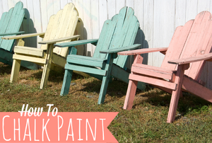 "A row of pastel adirondack chairs with the words ""How To Chalk Paint."""