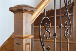 A newel at the base of a staircase.