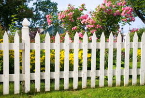 An old, white picket fence surrounds a yard of flowers.