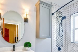 A bathroom with a shower.