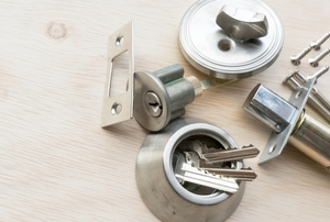 deconstructed deadbolt lock
