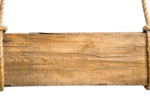 blank wooden sign hanging on rustic ropes