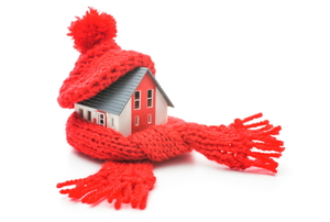 A house wrapped up in a scarf and hat.