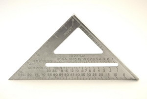 A metal speed square.