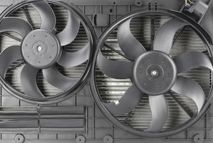 two gray, metallic fans connected on a white background