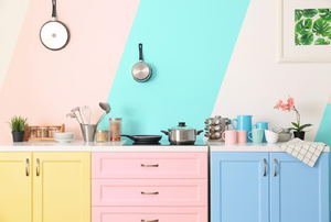 A pastel-colored kitchen.