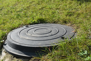 Septic tank lid surrounded by lawn