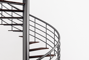A metal spiral staircase.