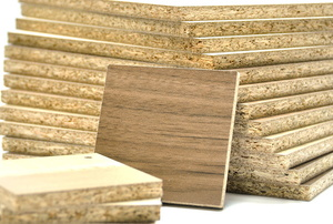 a stack of particle board