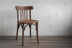 A chair on wood.