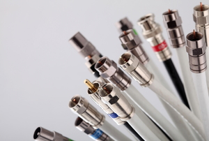 Several coaxial cables are on display.