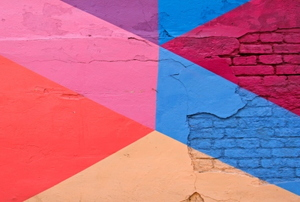 Geometric design painted on a brick wall