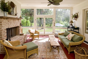 A screened-in porch.
