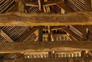 The rafters of an old attic.
