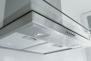 clean, metal stove hood