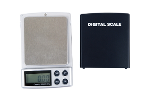 A digital pocket scale on a white background.