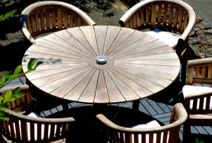 wooden patio roundtable with chairs