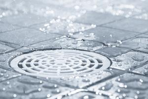 shower brain set in a wet tile floor