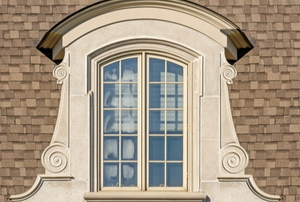 exterior view of arched window