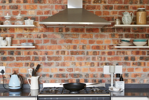 brick siding in a kitchen
