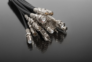 Coaxial cables on a gray background.