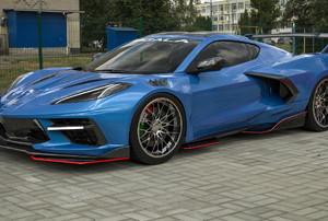 A blue car.