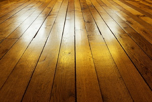 expanse of finished hardwood flooring