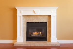 gas fireplace with white mantel
