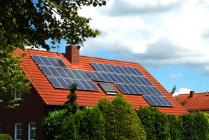 solar panels on a red roof