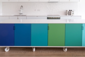row of blue and green cabinets