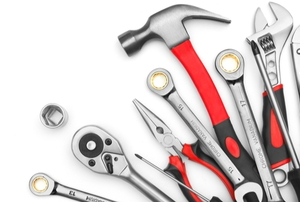 tool set arrayed on a white background