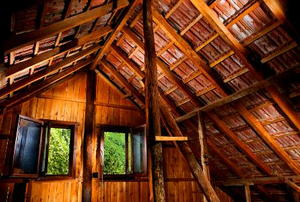 A rustic old attic with two open windows.