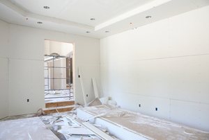 Sheetrock in a room.