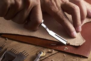 Cutting leather with a special tool