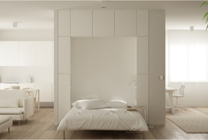 wall bed in open living space