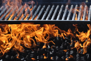A close up of a grill.
