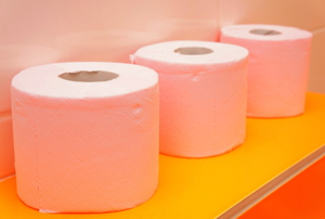 toilet paper rolls on an orange shelf