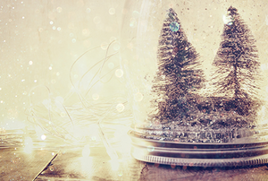 A homemade snow globe with trees and glitter in a jar