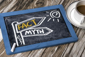 "A small chalkboard with the words ""fact"" and ""myth"" written on it."