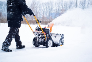 A snowblower being used.