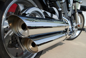 A motorcycle exhaust.