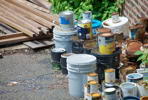 Latex paint cans.