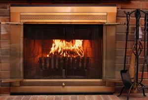 a lit fireplace