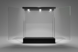 A glass display case.