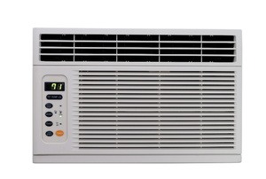 An air conditioner on a white background.