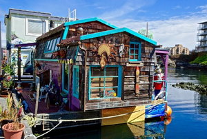 decorated houseboat on the water