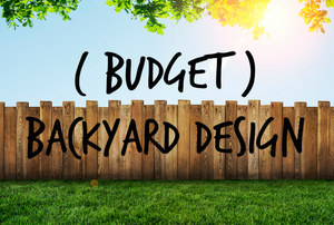 """A backyard with a fence and grass, and the words """"(Budget) Backyard Design."""""""