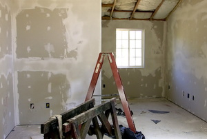 A home with drywall.