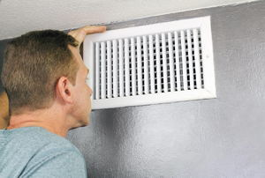heating vent in a wall